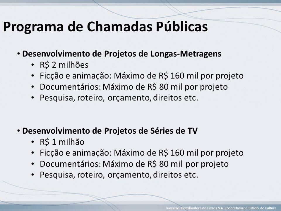 RioFilme Distribuidora de Filmes S.A | Secretaria de Estado de Cultura Programa de Chamadas Públicas • Desenvolvimento de Projetos de Longas-Metragens • R$ 2 milhões • Ficção e animação: Máximo de R$ 160 mil por projeto • Documentários: Máximo de R$ 80 mil por projeto • Pesquisa, roteiro, orçamento, direitos etc.