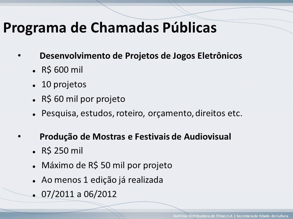 RioFilme Distribuidora de Filmes S.A | Secretaria de Estado de Cultura Programa de Chamadas Públicas • Desenvolvimento de Projetos de Jogos Eletrônicos  R$ 600 mil  10 projetos  R$ 60 mil por projeto  Pesquisa, estudos, roteiro, orçamento, direitos etc.