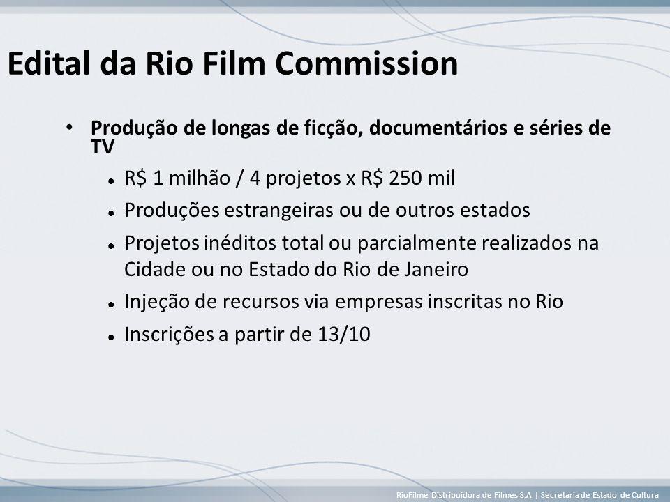 RioFilme Distribuidora de Filmes S.A | Secretaria de Estado de Cultura Edital da Rio Film Commission • Produção de longas de ficção, documentários e séries de TV  R$ 1 milhão / 4 projetos x R$ 250 mil  Produções estrangeiras ou de outros estados  Projetos inéditos total ou parcialmente realizados na Cidade ou no Estado do Rio de Janeiro  Injeção de recursos via empresas inscritas no Rio  Inscrições a partir de 13/10
