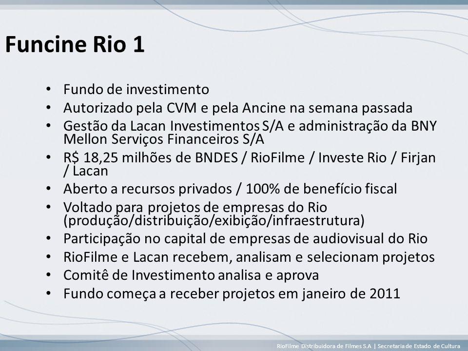 RioFilme Distribuidora de Filmes S.A | Secretaria de Estado de Cultura Funcine Rio 1 • Fundo de investimento • Autorizado pela CVM e pela Ancine na semana passada • Gestão da Lacan Investimentos S/A e administração da BNY Mellon Serviços Financeiros S/A • R$ 18,25 milhões de BNDES / RioFilme / Investe Rio / Firjan / Lacan • Aberto a recursos privados / 100% de benefício fiscal • Voltado para projetos de empresas do Rio (produção/distribuição/exibição/infraestrutura) • Participação no capital de empresas de audiovisual do Rio • RioFilme e Lacan recebem, analisam e selecionam projetos • Comitê de Investimento analisa e aprova • Fundo começa a receber projetos em janeiro de 2011