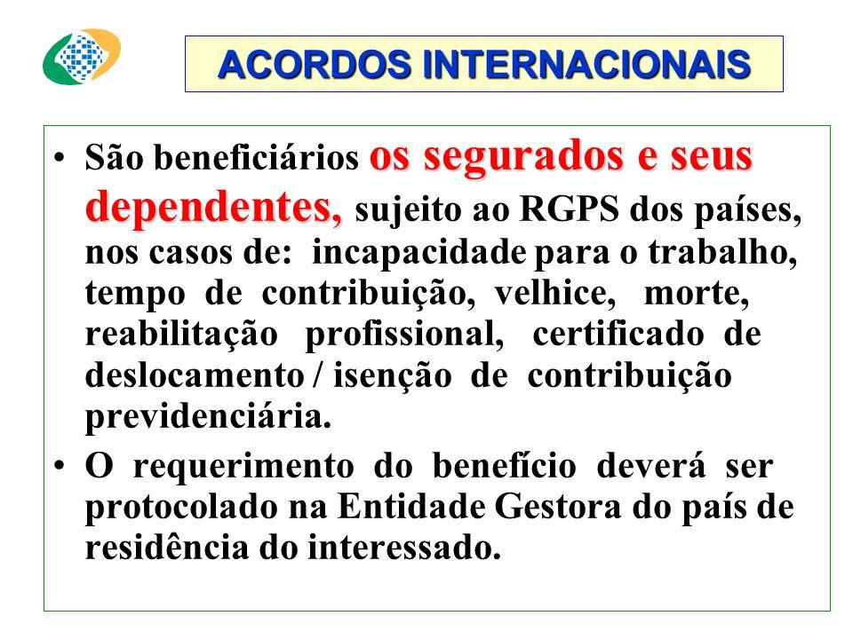 ACORDOS INTERNACIONAIS MERCOSUL Acordo multilateral de Previdência, que entrará em vigor a partir da aprovação do Parlamento de todos os países envolv