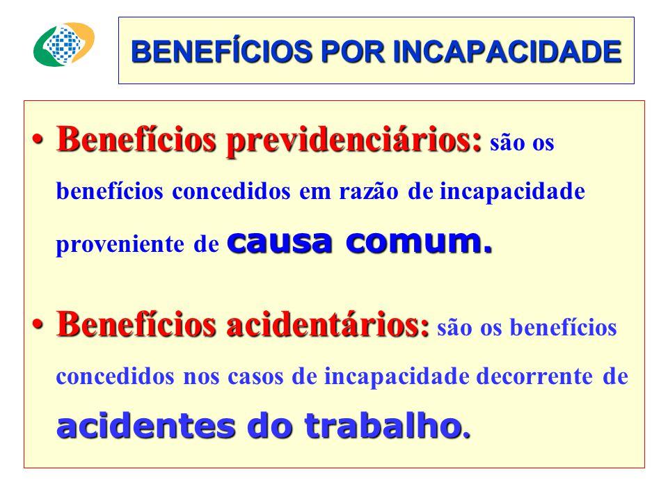BENEFÍCIOS POR INCAPACIDADE •Benefícios previdenciários: causa comum.