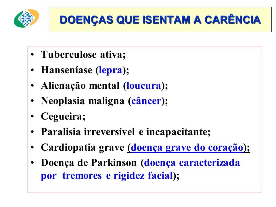 DOENÇAS QUE ISENTAM A CARÊNCIA •Tuberculose ativa; •Hanseníase (lepra); •Alienação mental (loucura); •Neoplasia maligna (câncer); •Cegueira; •Paralisia irreversível e incapacitante; •Cardiopatia grave (doença grave do coração); •Doença de Parkinson (doença caracterizada por tremores e rigidez facial);