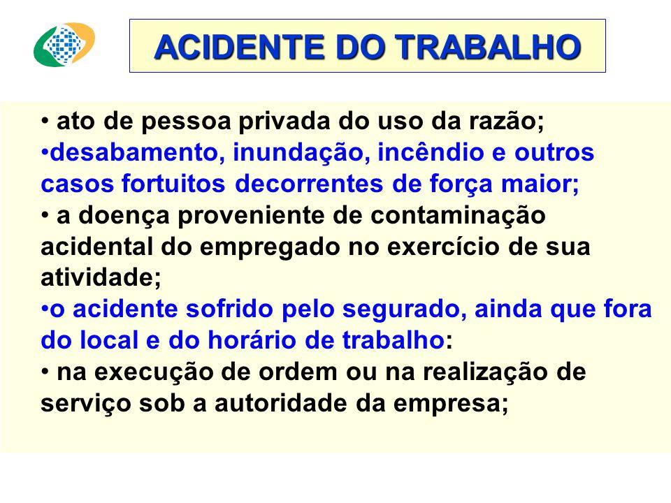 ACIDENTE DO TRABALHO Equiparam-se a acidente do trabalho: • o acidente ligado ao trabalho que tenha contribuído diretamente para a morte do segurado,