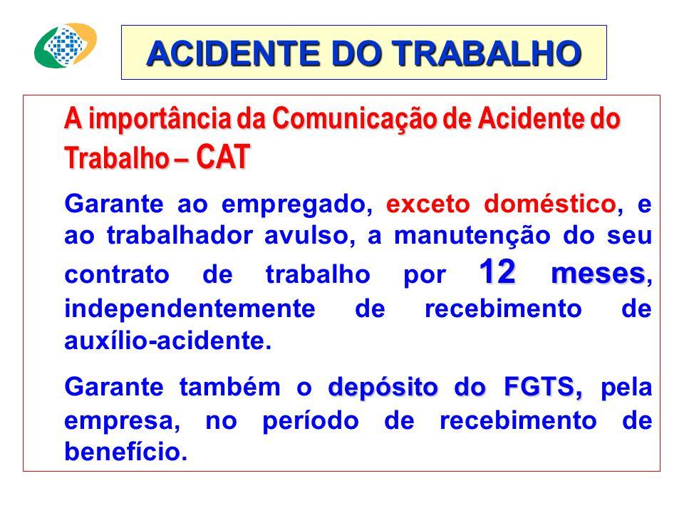 ACIDENTE DO TRABALHO A importância da Comunicação de Acidente do Trabalho – CAT 12 meses Garante ao empregado, exceto doméstico, e ao trabalhador avulso, a manutenção do seu contrato de trabalho por 12 meses, independentemente de recebimento de auxílio-acidente.