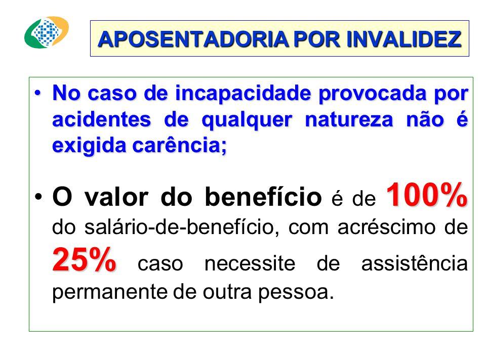 APOSENTADORIA POR INVALIDEZ •No caso de incapacidade provocada por acidentes de qualquer natureza não é exigida carência; 100% 25% •O valor do benefício é de 100% do salário-de-benefício, com acréscimo de 25% caso necessite de assistência permanente de outra pessoa.