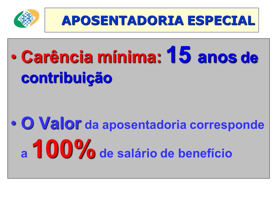 APOSENTADORIA ESPECIAL APOSENTADORIA ESPECIAL •Carência mínima: 15 anos de contribuição •O Valor 100% •O Valor da aposentadoria corresponde a 100% de salário de benefício