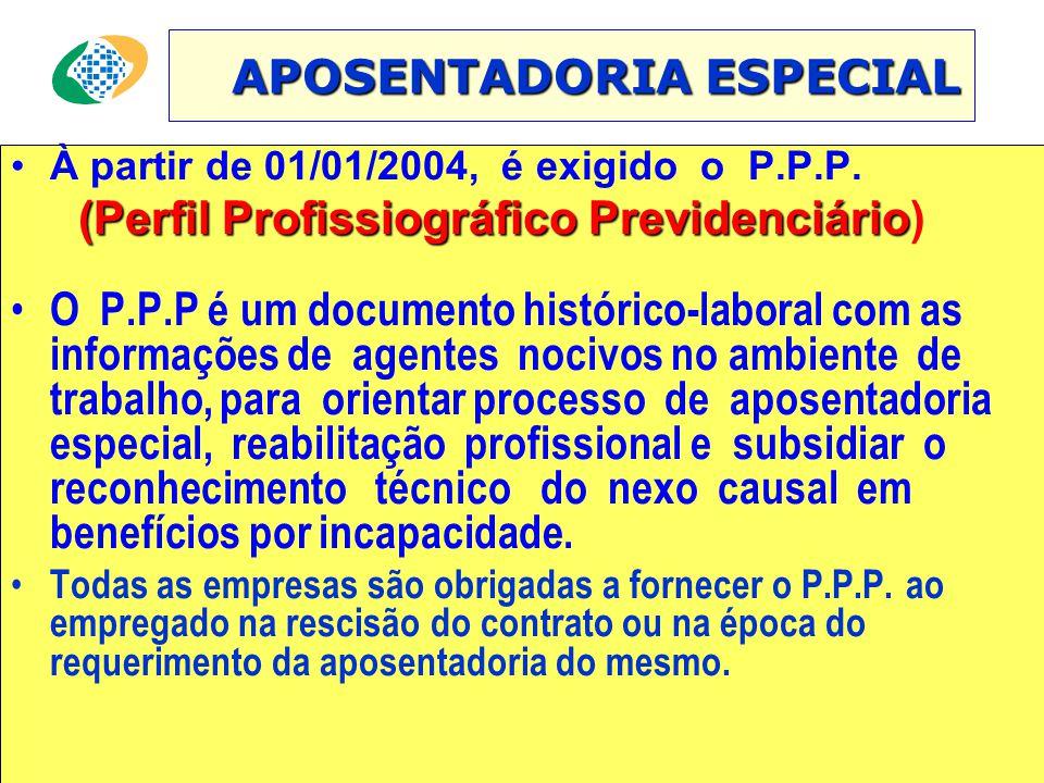 APOSENTADORIA ESPECIAL APOSENTADORIA ESPECIAL •À partir de 01/01/2004, é exigido o P.P.P.