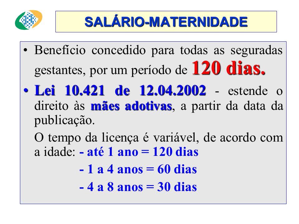 SALÁRIO-MATERNIDADE 120 dias.