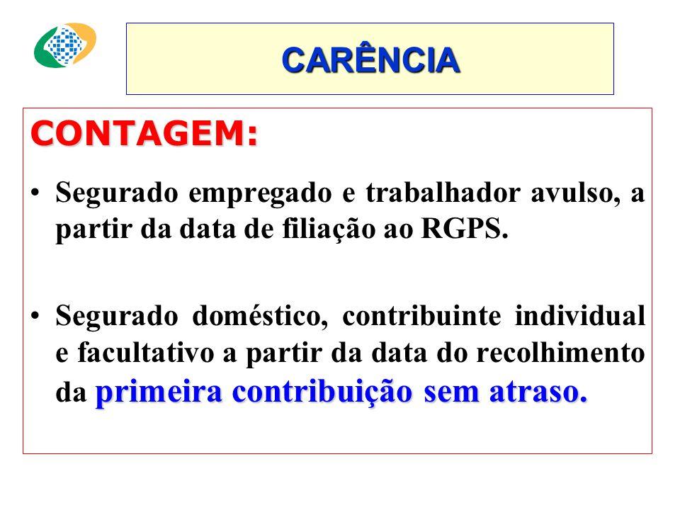 CONTAGEM: •Segurado empregado e trabalhador avulso, a partir da data de filiação ao RGPS.