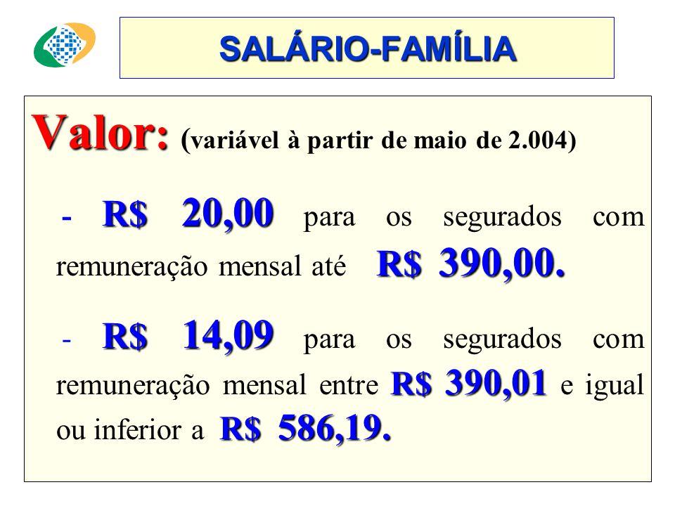 SALÁRIO-FAMÍLIA Valor : Valor : ( variável à partir de maio de 2.004) R$ 20,00 R$ 390,00.