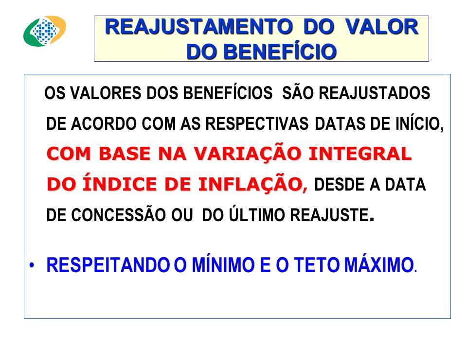 REAJUSTAMENTO DO VALOR DO BENEFÍCIO COMBASE NA VARIAÇÃO INTEGRAL DOÍNDICE DE INFLAÇÃO OS VALORES DOS BENEFÍCIOS SÃO REAJUSTADOS DE ACORDO COM AS RESPECTIVAS DATAS DE INÍCIO, COM BASE NA VARIAÇÃO INTEGRAL DO ÍNDICE DE INFLAÇÃO, DESDE A DATA DE CONCESSÃO OU DO ÚLTIMO REAJUSTE.
