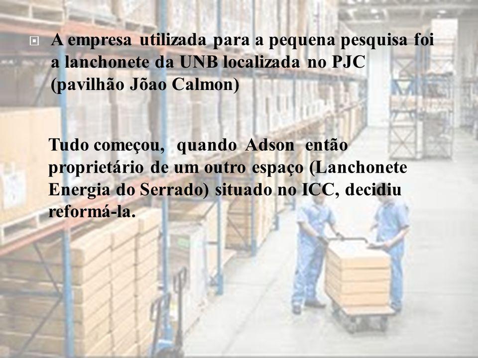  A empresa utilizada para a pequena pesquisa foi a lanchonete da UNB localizada no PJC (pavilhão Jõao Calmon) Tudo começou, quando Adson então propri