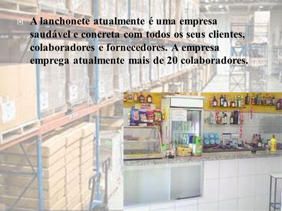  A lanchonete atualmente é uma empresa saudável e concreta com todos os seus clientes, colaboradores e fornecedores. A empresa emprega atualmente mai