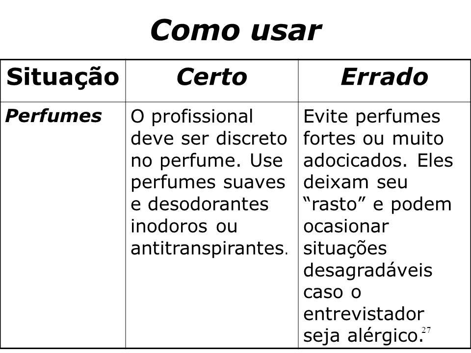 27 SituaçãoCertoErrado PerfumesO profissional deve ser discreto no perfume. Use perfumes suaves e desodorantes inodoros ou antitranspirantes. Evite pe