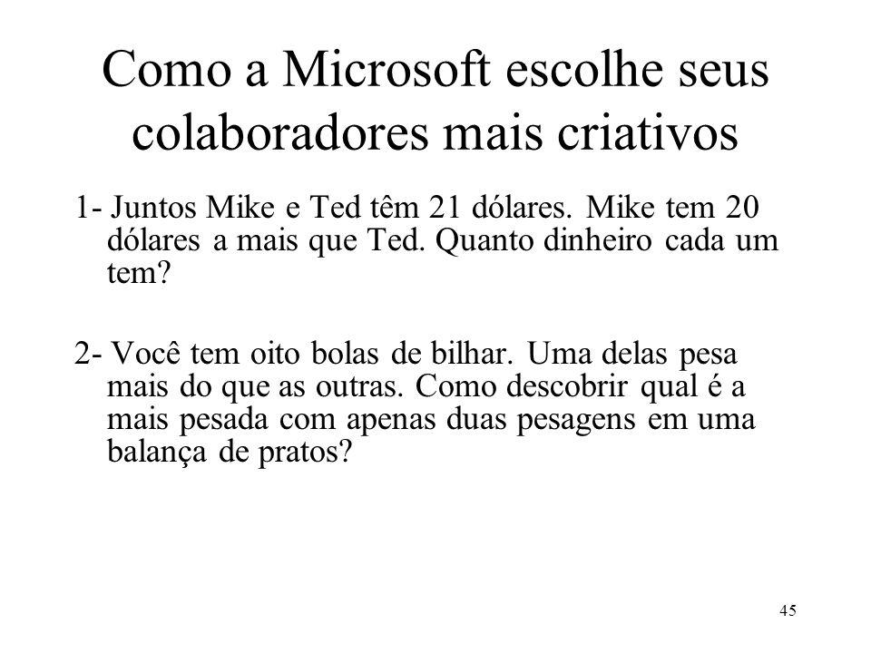 45 Como a Microsoft escolhe seus colaboradores mais criativos 1- Juntos Mike e Ted têm 21 dólares. Mike tem 20 dólares a mais que Ted. Quanto dinheiro