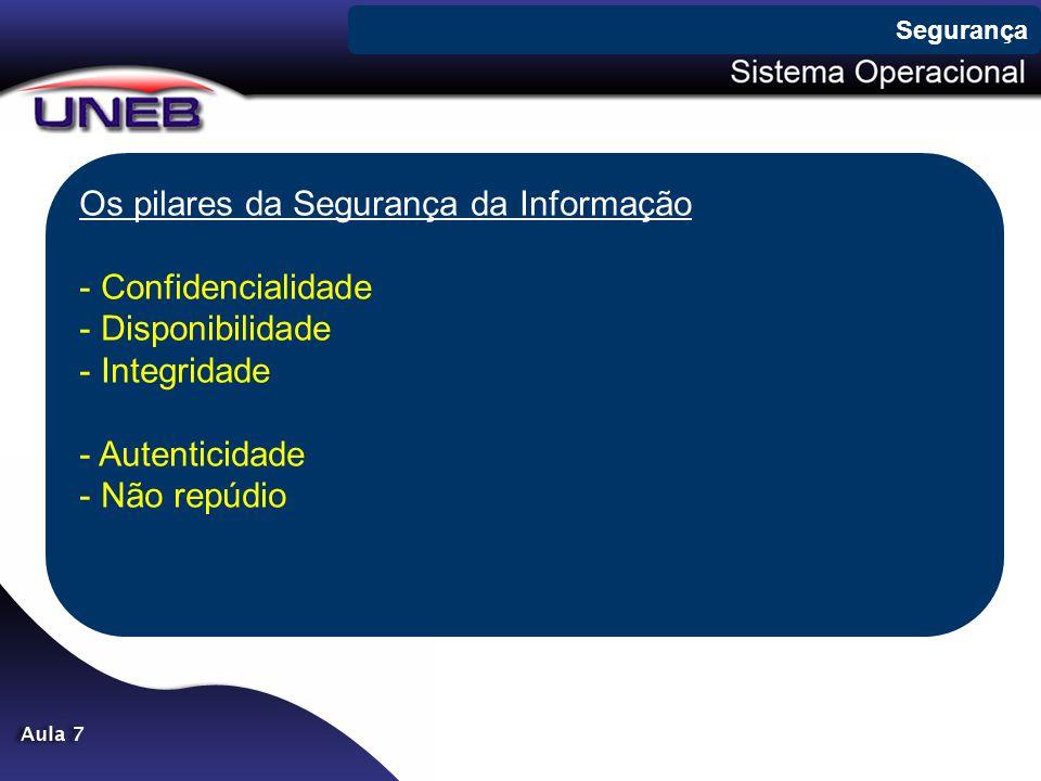 Os pilares da Segurança da Informação - Confidencialidade - Disponibilidade - Integridade - Autenticidade - Não repúdio Segurança