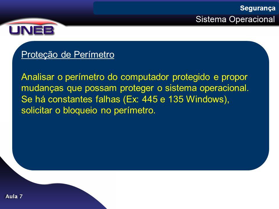 Proteção de Perímetro Analisar o perímetro do computador protegido e propor mudanças que possam proteger o sistema operacional. Se há constantes falha
