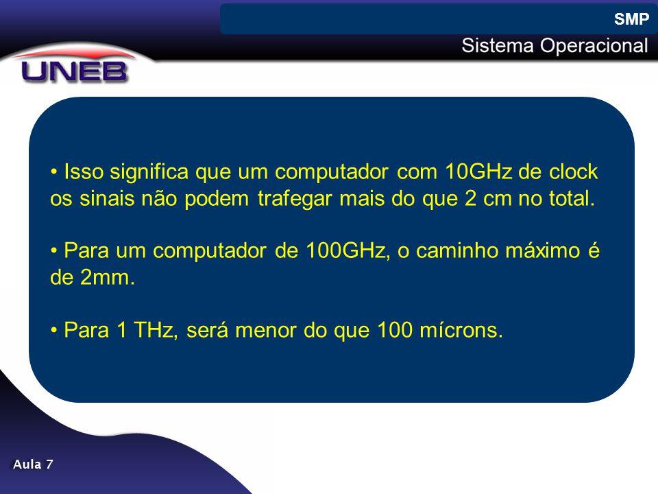 • Isso significa que um computador com 10GHz de clock os sinais não podem trafegar mais do que 2 cm no total. • Para um computador de 100GHz, o caminh