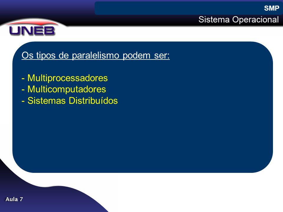 Os tipos de paralelismo podem ser: - Multiprocessadores - Multicomputadores - Sistemas Distribuídos SMP