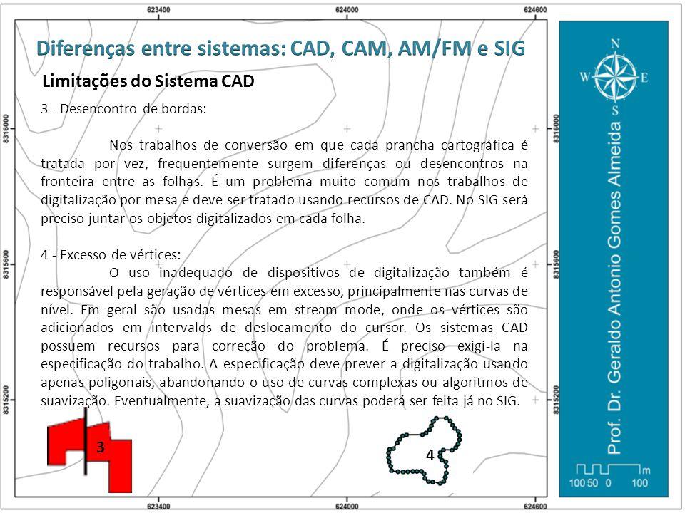 Limitações do Sistema CAD 3 - Desencontro de bordas: Nos trabalhos de conversão em que cada prancha cartográfica é tratada por vez, frequentemente sur
