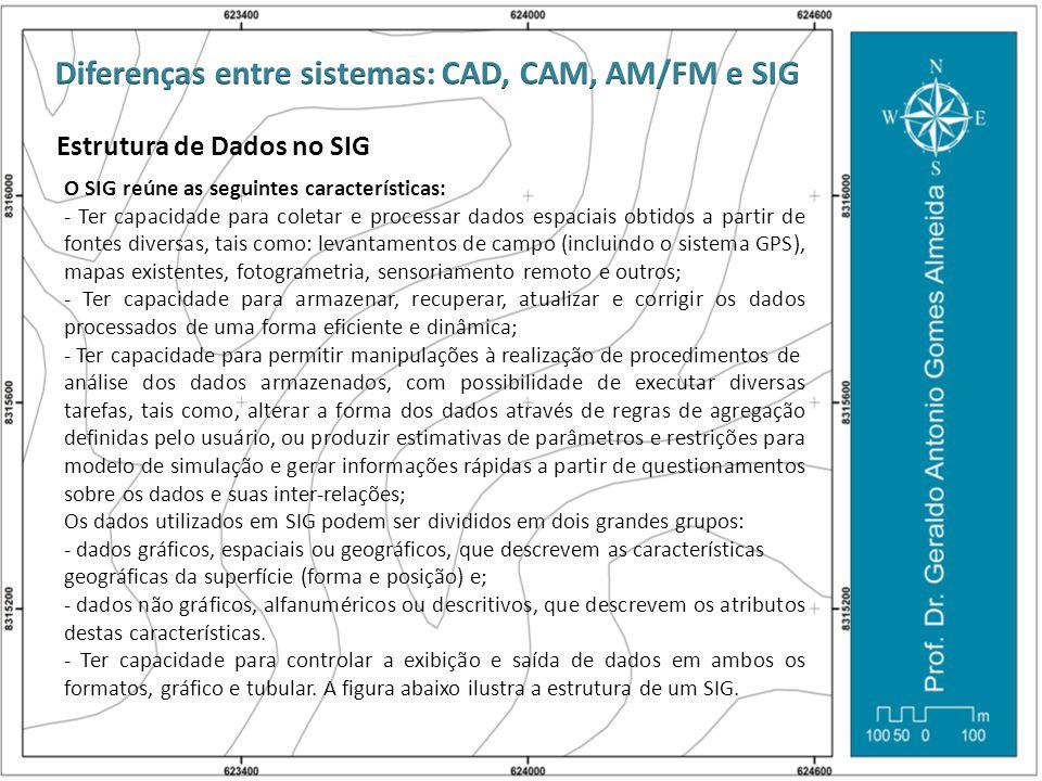 Estrutura de Dados no SIG O SIG reúne as seguintes características: - Ter capacidade para coletar e processar dados espaciais obtidos a partir de font