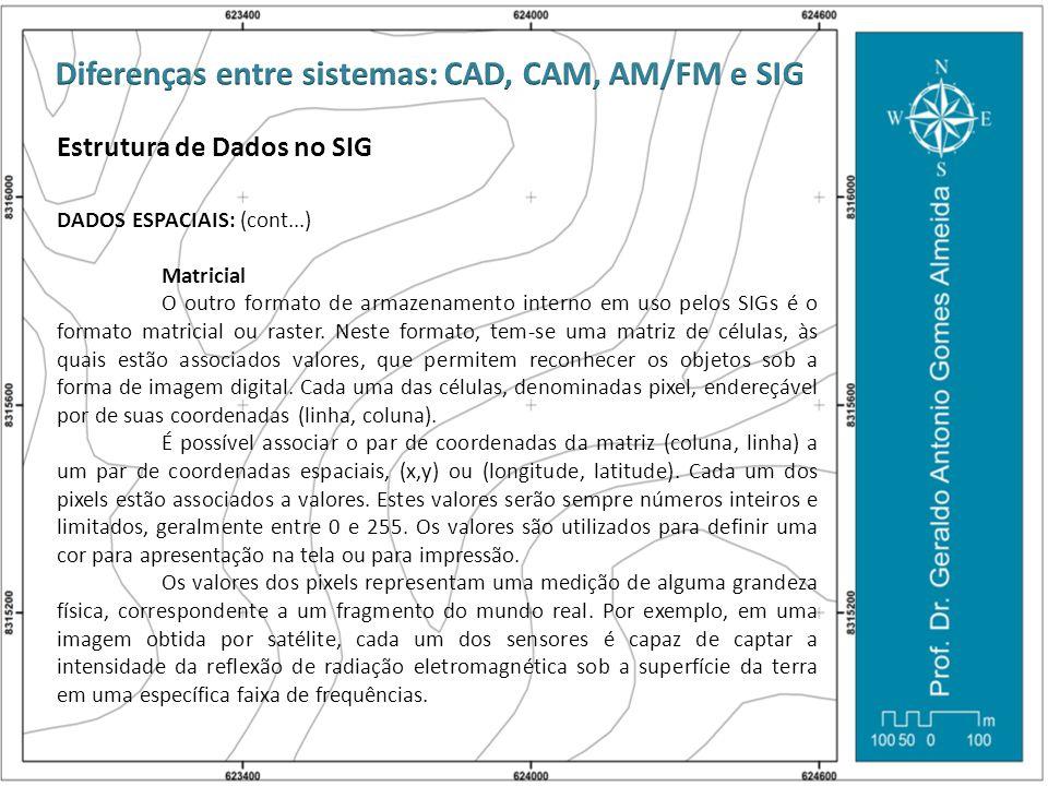 Estrutura de Dados no SIG DADOS ESPACIAIS: (cont...) Matricial O outro formato de armazenamento interno em uso pelos SIGs é o formato matricial ou ras