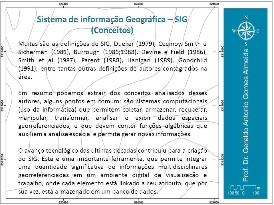 Muitas são as definições de SIG, Dueker (1979), Ozemoy, Smith e Sicherman (1981), Burrough (1986;1988), Devine e Field (1986), Smith et al (1987), Par