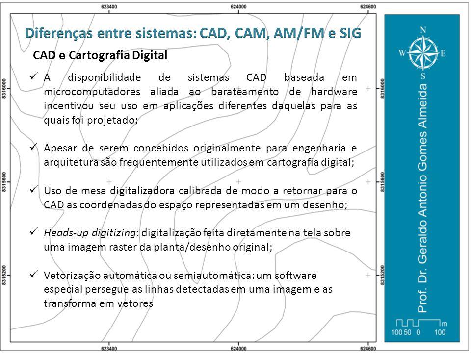 CAD e Cartografia Digital  A disponibilidade de sistemas CAD baseada em microcomputadores aliada ao barateamento de hardware incentivou seu uso em ap