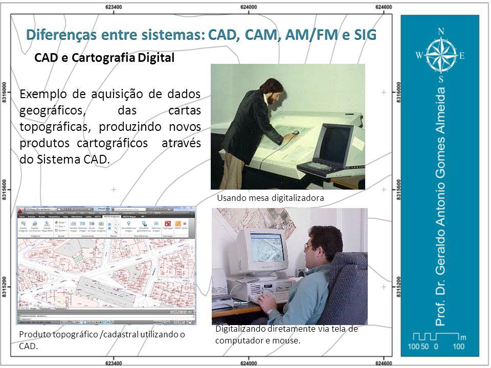 CAD e Cartografia Digital Exemplo de aquisição de dados geográficos, das cartas topográficas, produzindo novos produtos cartográficos através do Siste