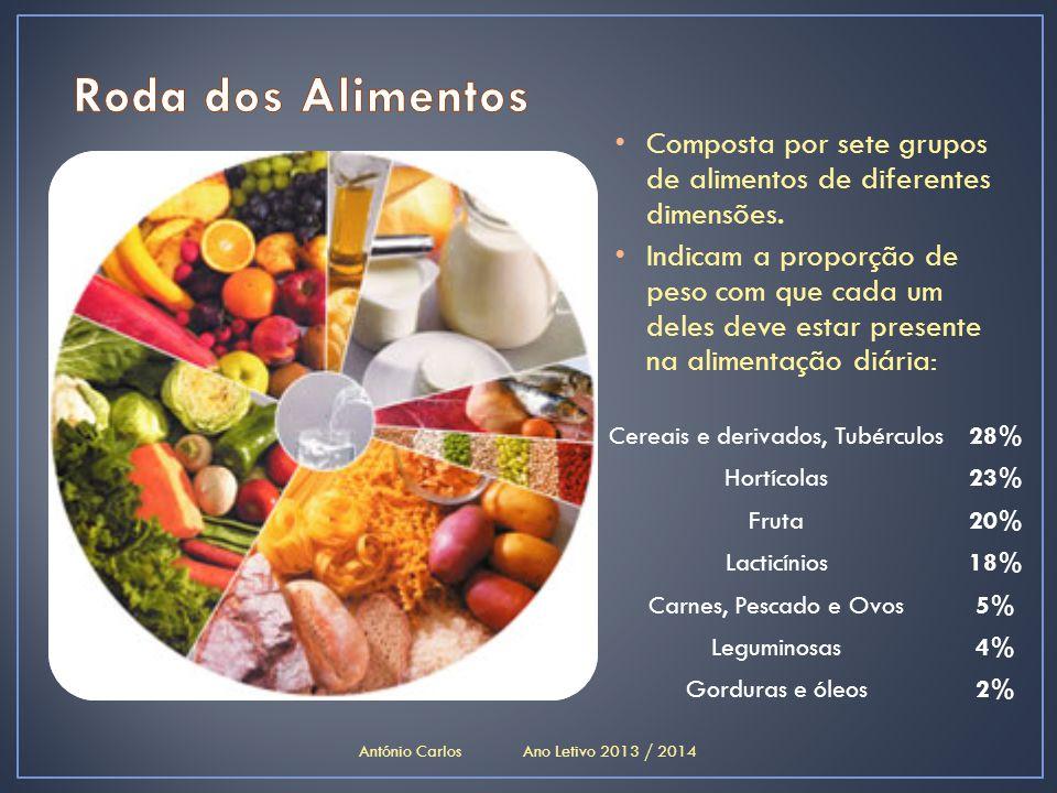 • Composta por sete grupos de alimentos de diferentes dimensões. • Indicam a proporção de peso com que cada um deles deve estar presente na alimentaçã