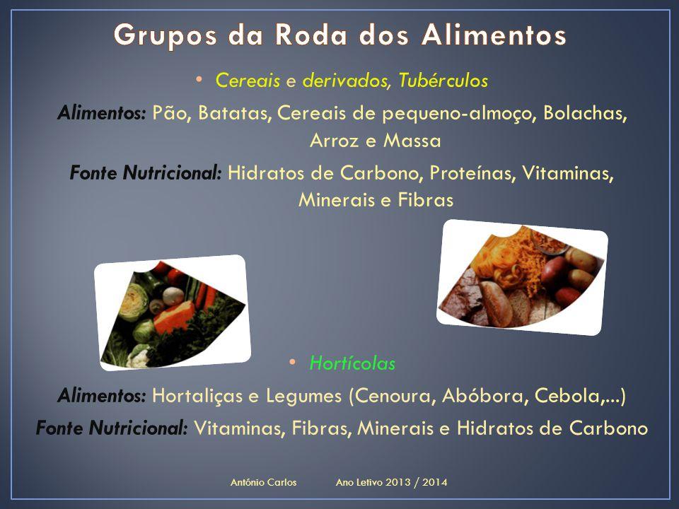 • Cereais e derivados, Tubérculos Alimentos: Pão, Batatas, Cereais de pequeno-almoço, Bolachas, Arroz e Massa Fonte Nutricional: Hidratos de Carbono,