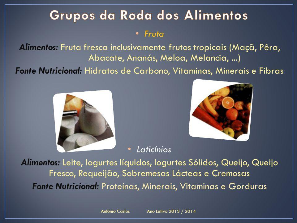 • Fruta Alimentos: Fruta fresca inclusivamente frutos tropicais (Maçã, Pêra, Abacate, Ananás, Meloa, Melancia,...) Fonte Nutricional: Hidratos de Carb