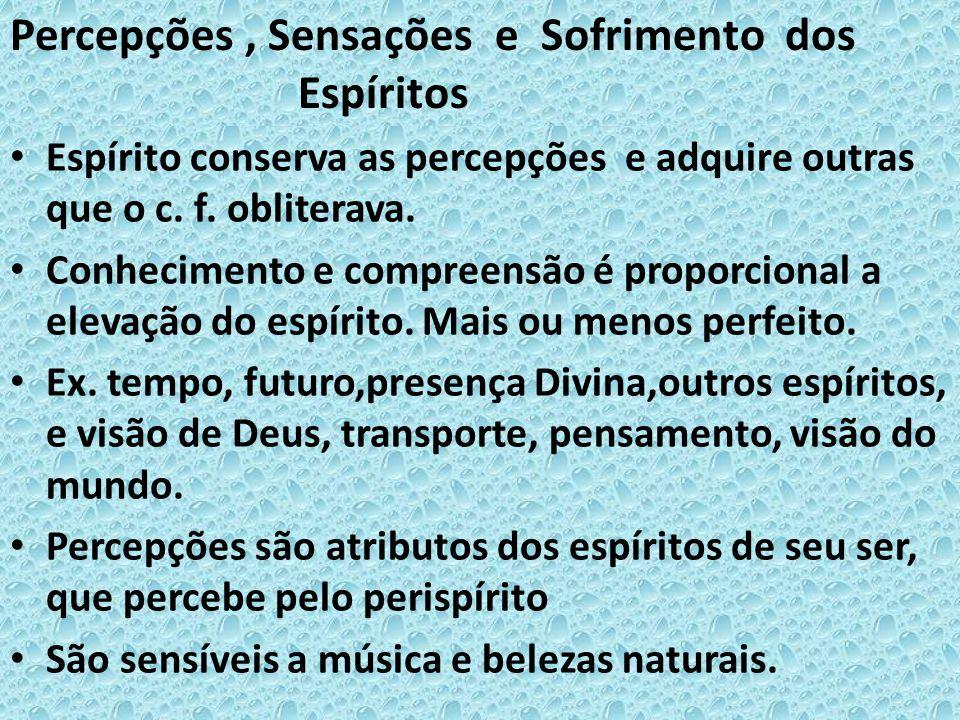 • Espírito conserva as percepções e adquire outras que o c. f. obliterava. • Conhecimento e compreensão é proporcional a elevação do espírito. Mais ou