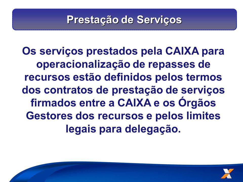 Os serviços prestados pela CAIXA para operacionalização de repasses de recursos estão definidos pelos termos dos contratos de prestação de serviços firmados entre a CAIXA e os Órgãos Gestores dos recursos e pelos limites legais para delegação.