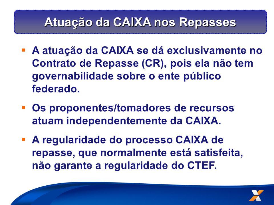 Atuação da CAIXA nos Repasses  A atuação da CAIXA se dá exclusivamente no Contrato de Repasse (CR), pois ela não tem governabilidade sobre o ente público federado.