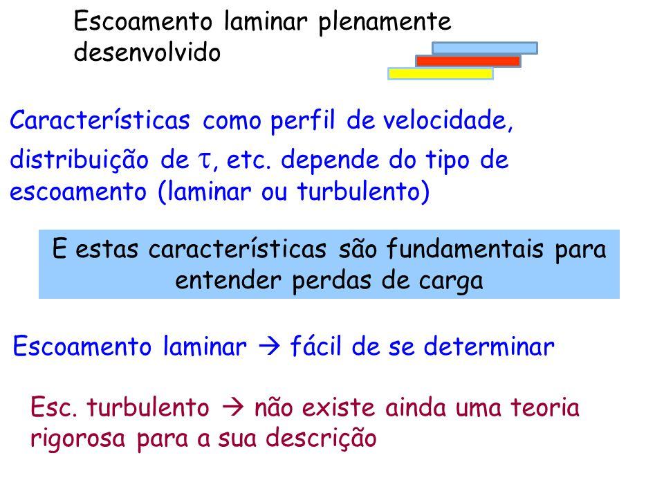 Escoamento laminar plenamente desenvolvido Características como perfil de velocidade, distribuição de , etc. depende do tipo de escoamento (laminar o
