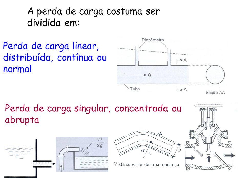 Perda de carga linear, distribuída, contínua ou normal A perda de carga costuma ser dividida em: Perda de carga singular, concentrada ou abrupta