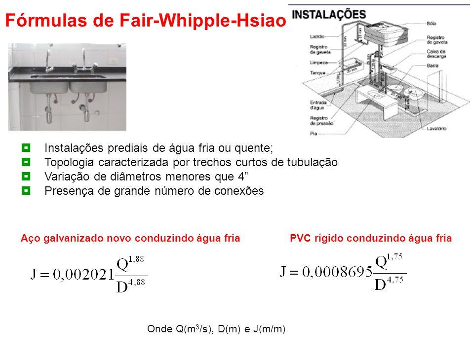 Fórmulas de Fair-Whipple-Hsiao  Instalações prediais de água fria ou quente;  Topologia caracterizada por trechos curtos de tubulação  Variação de