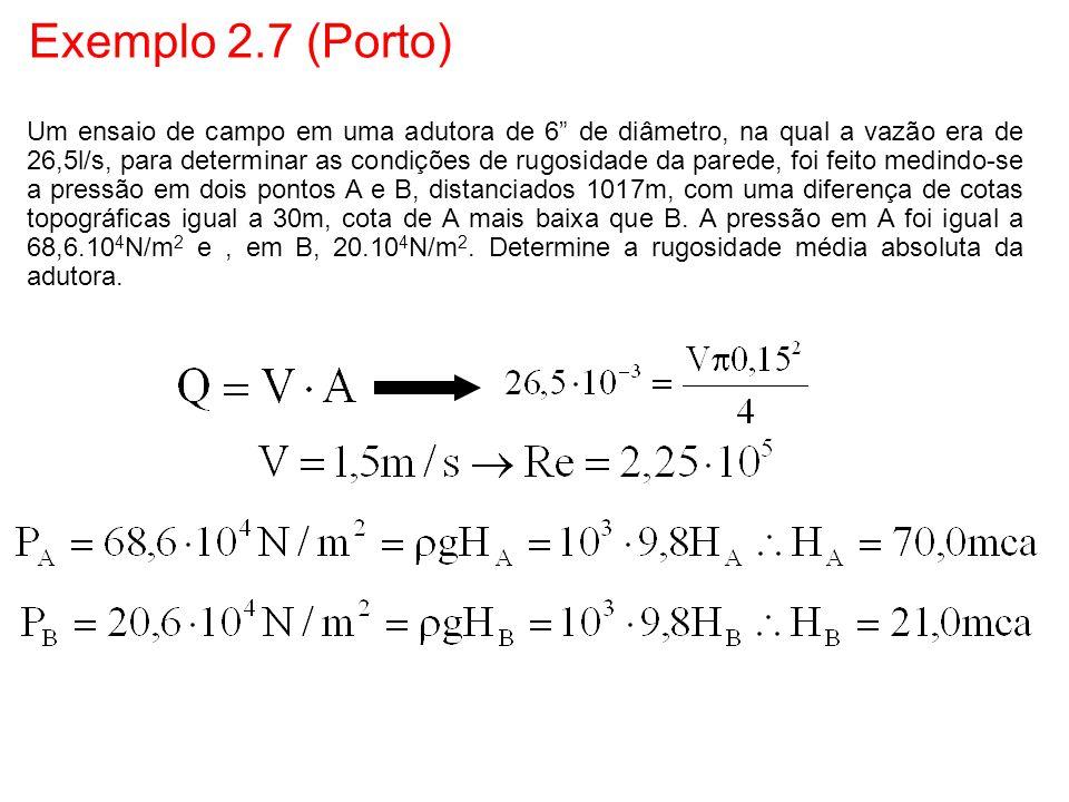 """Exemplo 2.7 (Porto) Um ensaio de campo em uma adutora de 6"""" de diâmetro, na qual a vazão era de 26,5l/s, para determinar as condições de rugosidade da"""