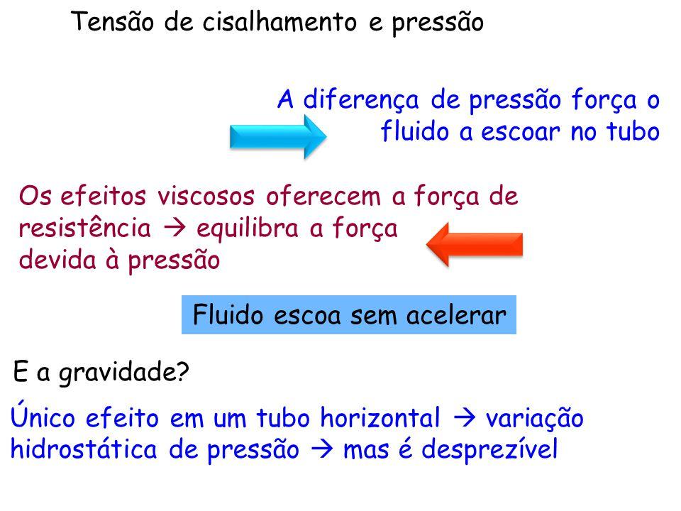 Tensão de cisalhamento e pressão Único efeito em um tubo horizontal  variação hidrostática de pressão  mas é desprezível Fluido escoa sem acelerar A