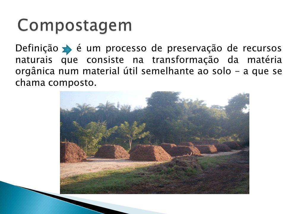Definição é um processo de preservação de recursos naturais que consiste na transformação da matéria orgânica num material útil semelhante ao solo - a que se chama composto.