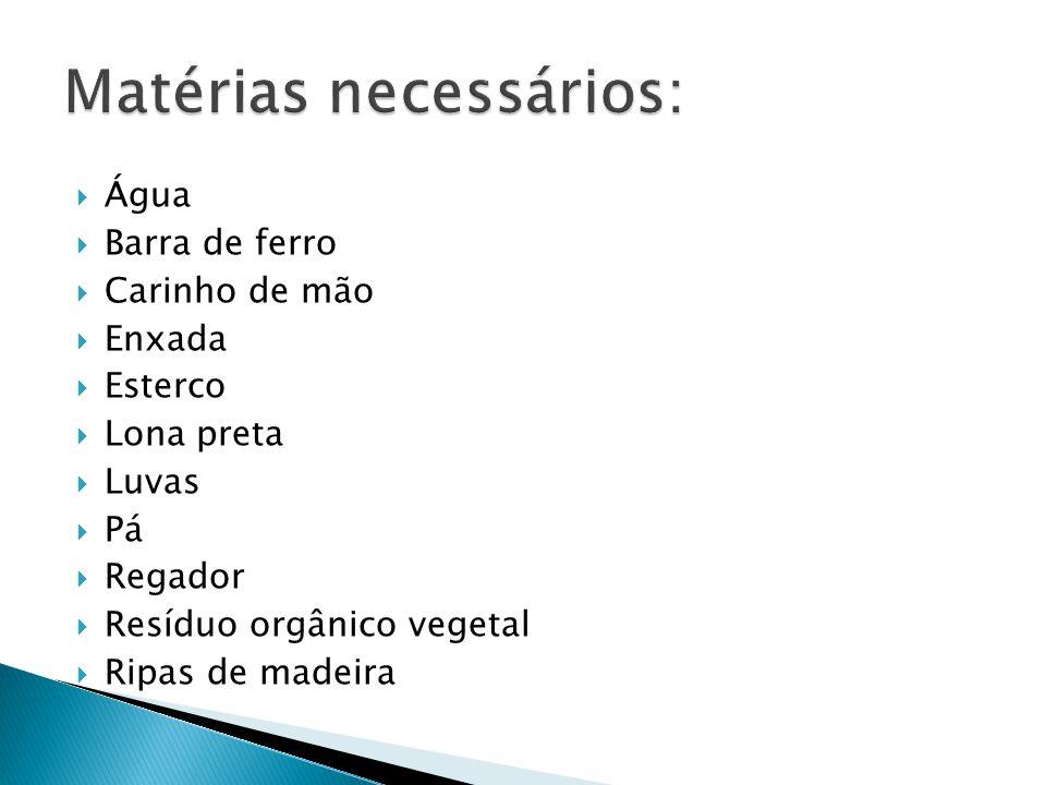  Água  Barra de ferro  Carinho de mão  Enxada  Esterco  Lona preta  Luvas  Pá  Regador  Resíduo orgânico vegetal  Ripas de madeira