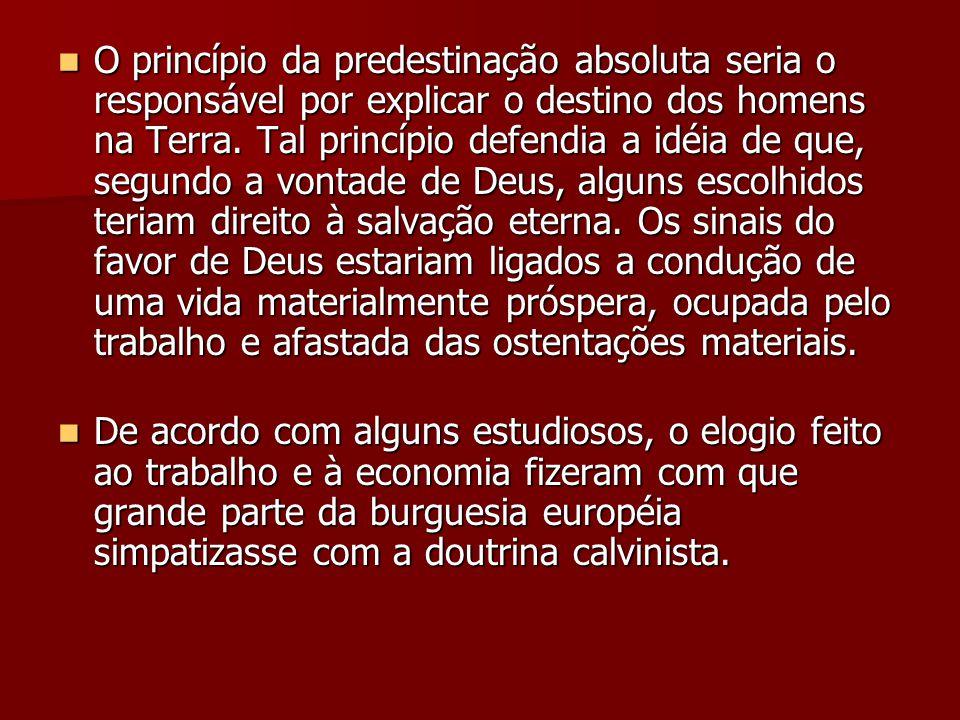  O princípio da predestinação absoluta seria o responsável por explicar o destino dos homens na Terra. Tal princípio defendia a idéia de que, segundo