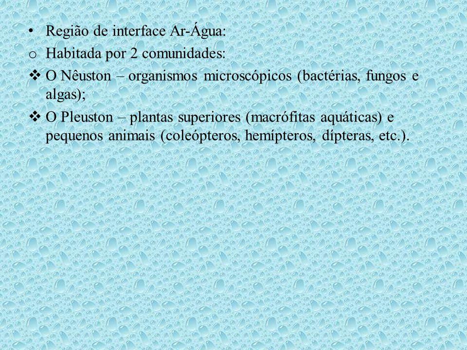 • Principais Parâmetros físico-químicos analisados: o pH; o Temperatura – o C; o Oxigênio Dissolvido (OD) – mg/L; o Transparência ou Turbidez– disco de Sechi e/ou turbidímetro; o Correnteza – m/s: flutuador; o Vazão: m 3 /s – trena (L x P x C); o Íons (N, P, S, Si, etc.) – mg/L; o Carbono (orgânico e inorgânico) – mg/L; o Sedimentos; o Condutividade elétrica – mS/L; o Etc.