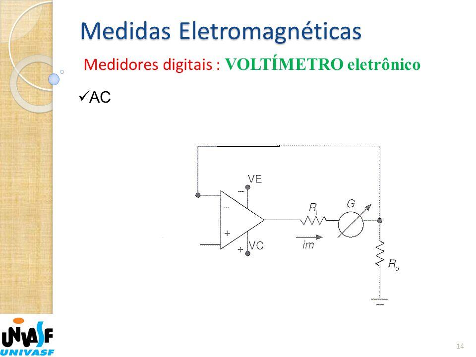 Medidas Eletromagnéticas Medidores digitais : VOLTÍMETRO eletrônico 14  AC
