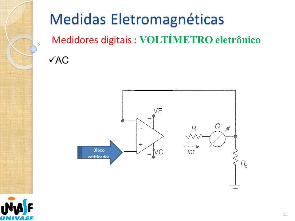 Medidas Eletromagnéticas Medidores digitais : VOLTÍMETRO eletrônico 15  AC Bloco retificador