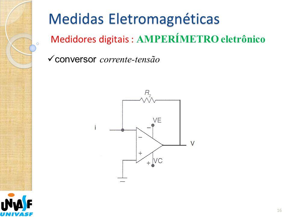 Medidas Eletromagnéticas Medidores digitais : AMPERÍMETRO eletrônico 16  conversor corrente-tensão