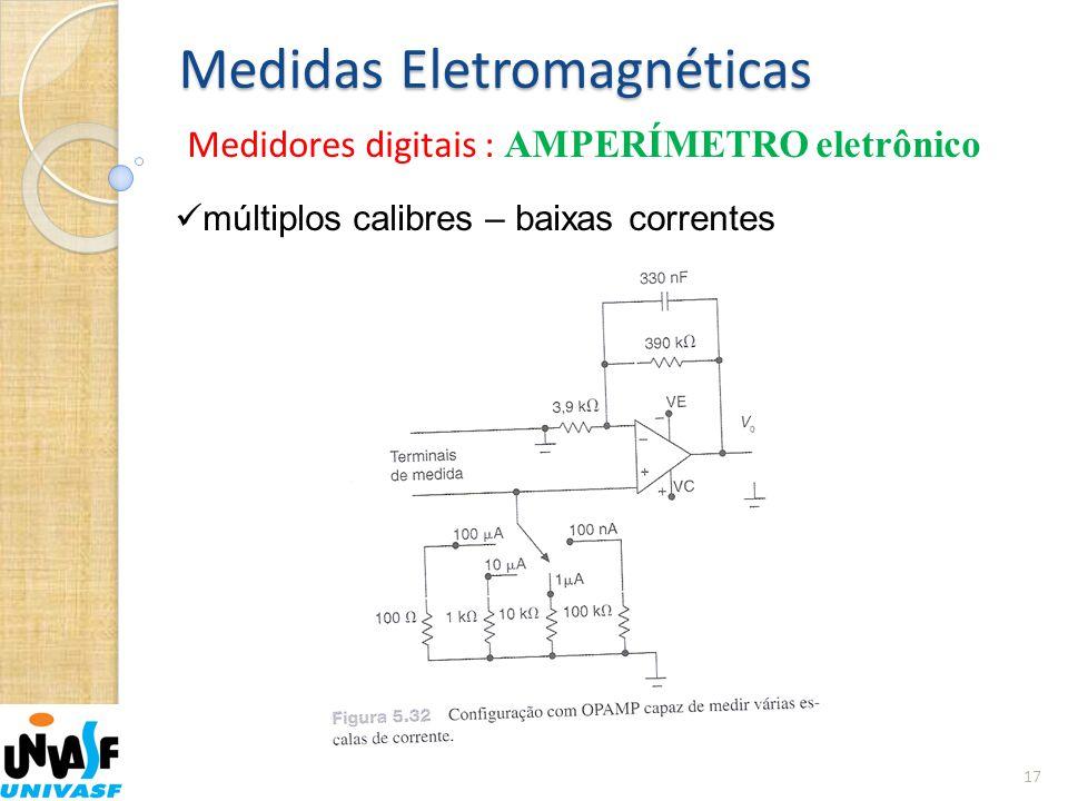 Medidas Eletromagnéticas Medidores digitais : AMPERÍMETRO eletrônico 17  múltiplos calibres – baixas correntes