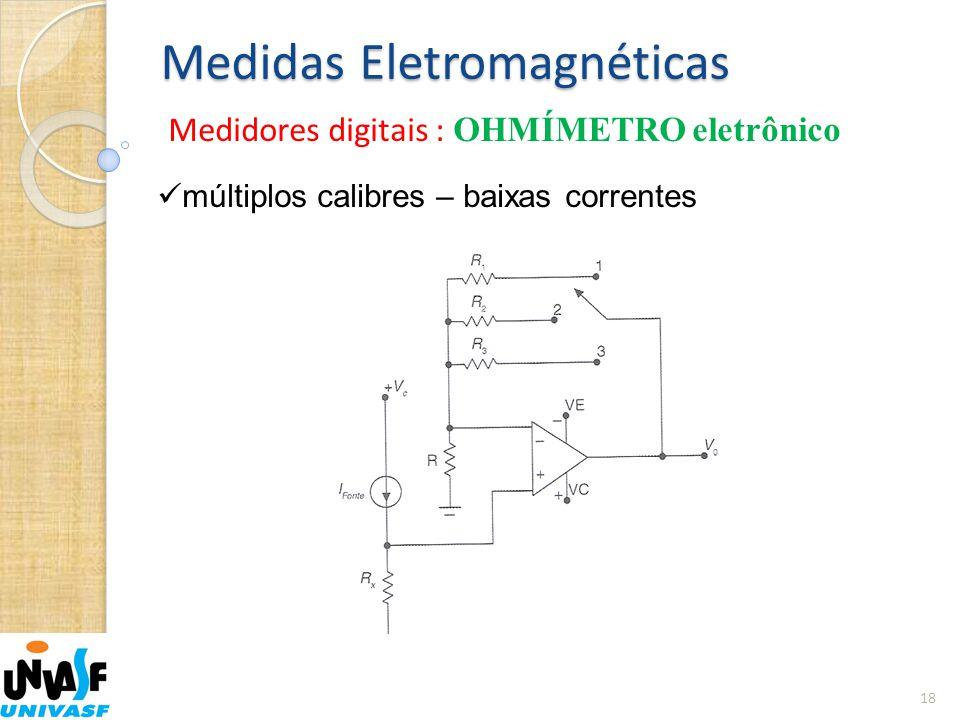 Medidas Eletromagnéticas Medidores digitais : OHMÍMETRO eletrônico 18  múltiplos calibres – baixas correntes